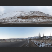 winter panorama of mountain road