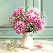 Bouquet of peonies with verdure