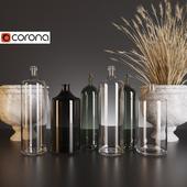 A set of decorative bottles.