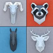 A set of decorative heads Polygonal paper
