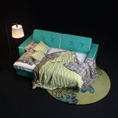 Silvio Trehmestny sofa in a clamshell form.