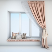 Soft sill with cushions and curtains in the style of Provence