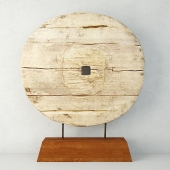 Chinese Elm Cart Wheel on Stand