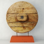 Chinese Wooden Cart Wheel on Stand