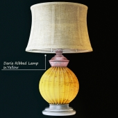 Daria Ribbed Table Lamp in Yellow