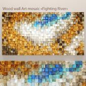 "Wood wall Art mosaic ""Fighting River"""