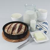 Still Life: Bread and Milk. (Bread and Milk)