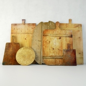Antique Cutting Boards with Knife