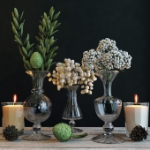 Set with green branches