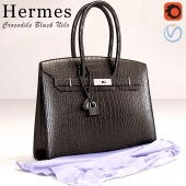 Bag Hermes Black Crocodile Birkin Bag
