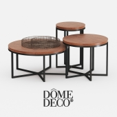 Dome deco set of coffee tables with decor