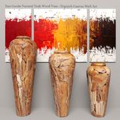 Teak Wood Vase SET