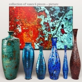 collection of vases 6 pieces + picture