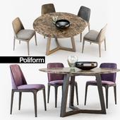Poliform Grace chair Concorde table set2