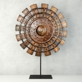 Wood Loom Wheel on Recycled Iron Stand