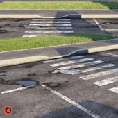 Road, sidewalk, curb, grass