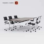 The negotiating table with chairs Plenum.K Charta (Koenig + Neurath, Germany)