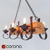 Люстра Маркиза-6 ДКХ деревянная с элементами художественной ковки