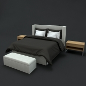 Modern Luxury black bed with wood table