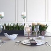Сервировка с тюльпанами и свечами