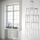 Set classical windows with decor