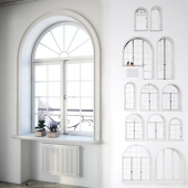 Set classical arched windows with decor