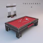 Бильярдный стол и стойка для кия Tresserra Bolero. Pool table and Cue Rack.
