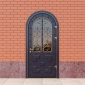 Steel entrance door with wrought reshetkoy_02