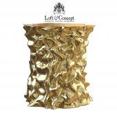 STOOL GOLD CRUMPLED PAPER