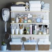 Shelves for bathroom with decor