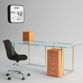 Habitat Ginnie Office Chair and Habitat Nic Glass Table