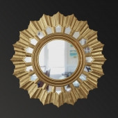 ANTIQUE GOLD SUNBURST WALL MIRROR