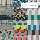 Fabrics made from a collection of Atom Kirkby design