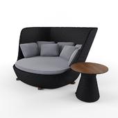 A set of wicker furniture
