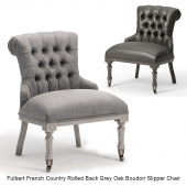 Fulbert French Country Rolled Back Grey Oak Boudoir Slipper Chair