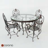 wrought-iron table and chairs