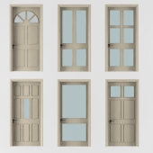 six doors beige color with pane glass