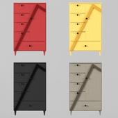 wardrobe: Vertex 1-door and 5-drawer Armoire