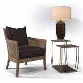 Uttermost_Encore Armchair, Teeranie Accent Table, Mazur Table lamp