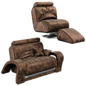 Кожаное кресло и диван