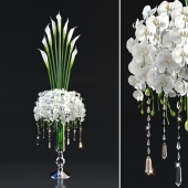 tall bouquet in a glass vase