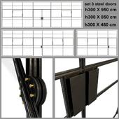 Set 3 big doors blak steel