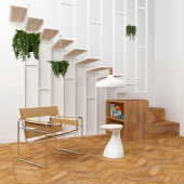 Interior set with stairs and armchair Wassily