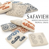 SAFAVIEH TROPICAL OREAS AND MOROCCAN-HOOKED PILLOWS SET