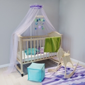 Baby cot with a canopy and Mobile