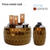 Vince metal-clad coffee table and accent stool