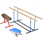 Gymnastic equipment: boards, goat, gymnastic bridge.