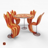 Table and chair Flames