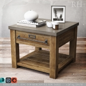 ZINC-TOP MERCANTILE SIDE TABLE 28sq