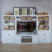 "Pottery Barn ""Logan Media Suite With Door Bookcase & Bridge"""